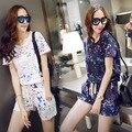 Цветные краски точки Напечатаны костюм Хан издание платье летом носить новый раунд воротник костюм