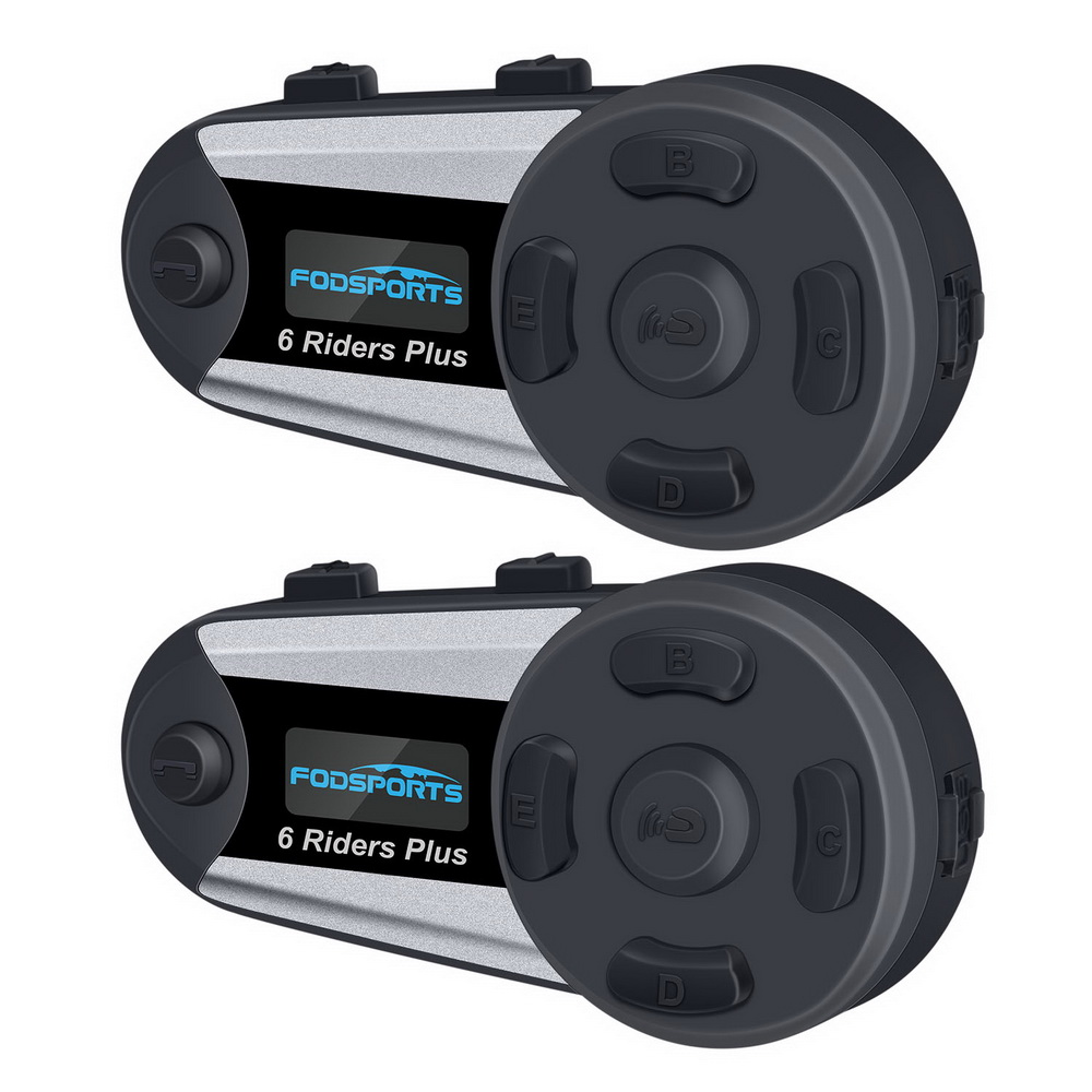 Fodsports 2pcs V6 Plus Intercom Motorcycle Helmet Intercom Bluetooth Helmet Headset 1200M Intercomunicador BT Interphone FM LED