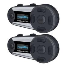 цены на Fodsports 2pcs V6 Plus Intercom Motorcycle Helmet Intercom Bluetooth Helmet Headset 1200M Intercomunicador BT Interphone FM LED  в интернет-магазинах