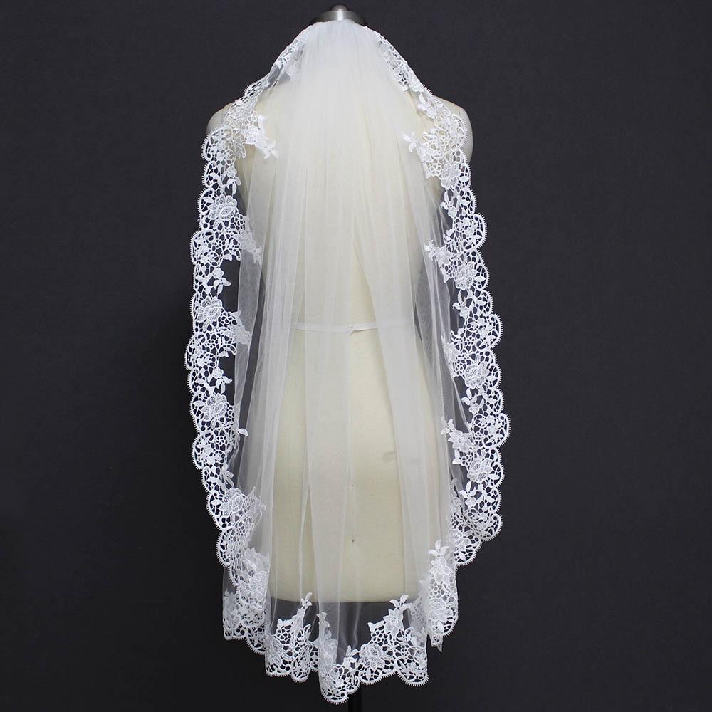 New Elegant Short Lace Wedding Veil With Comb One Layer 1 Meter Bridal Veil White Ivory Velo De Novia Wedding Accessories