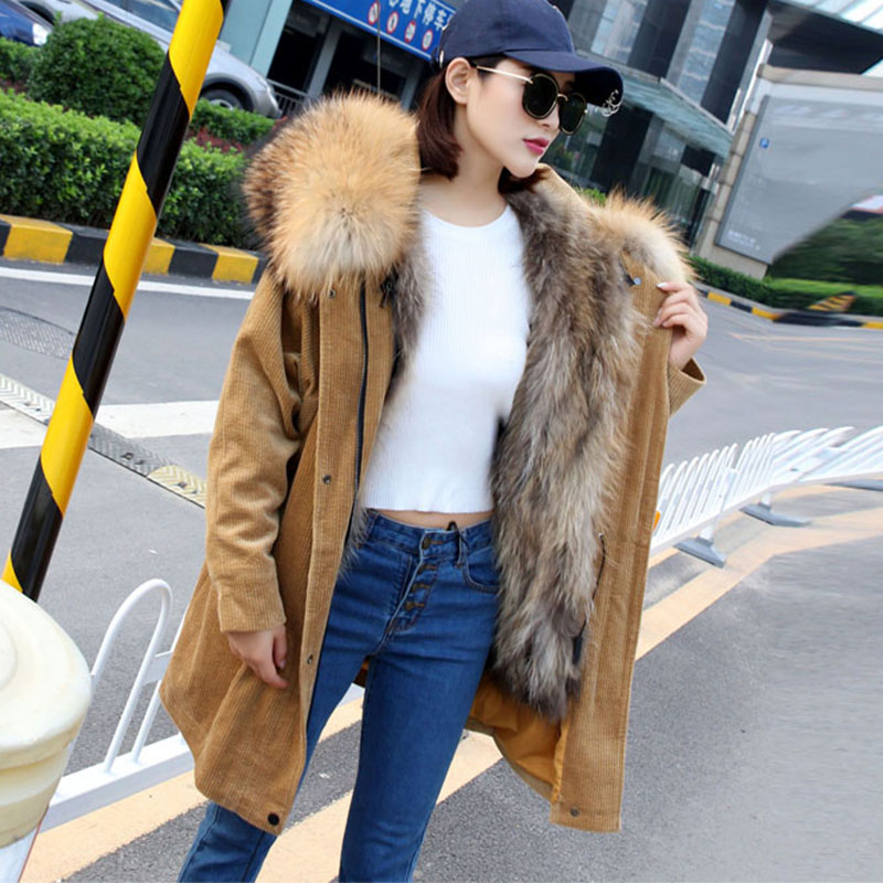 2017 New Winter Coat Women Real Fox Fur Lined Jacket Female Natural Color Thick Warm Fur Parkas Big Raccoon Fur Collar women winter coat leisure big yards hooded fur collar jacket thick warm cotton parkas new style female students overcoat ok238