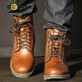 SERENO 2017 Sheos Homens Sapatos Masculinos Botas Tamanho Grande 38-46 Couro de vaca Retro Britânico Lace-up Mid-Cut Tooling Botas de Pele do Inverno 3123