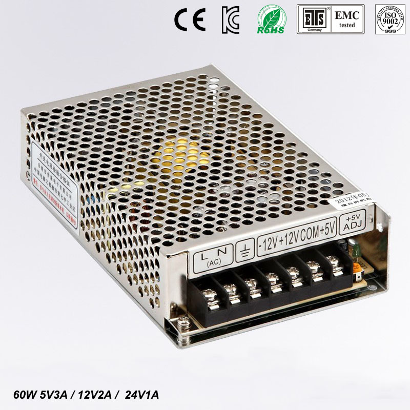 T <font><b>60W</b></font> D Triple output <font><b>5V</b></font> 12V 24V Switching power supply smps AC to DC image