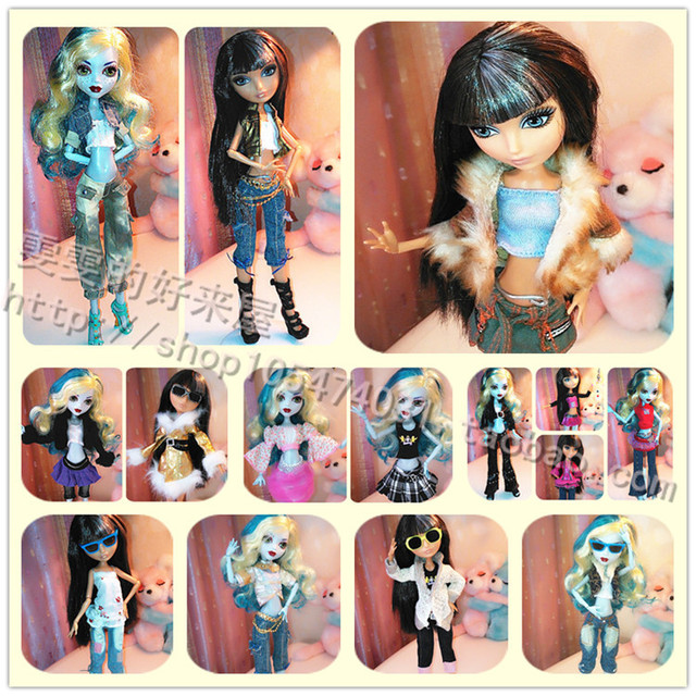 Wholesale Fashion 10pcs / lot packaged for sale for monster high clothes doll dresses skirt leisure suit clothing accessories