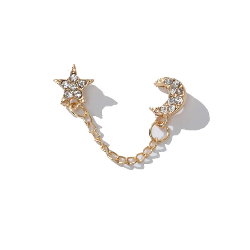 1 Pc Double Piercing Stud Alloy Chain Connecting Full Shiny Crystal Golden Star & Moon Earrings Women Fashion Jewelry