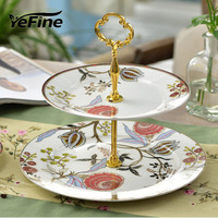 Top Quality Bone China Double Layer Cake Stand Set Advanced Gift 2 Tier Fruit Stand Ceramic