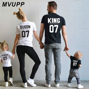 Family Look Dad Mom Kid matching outfits mommy and me clothes mother daughter dresses Fashion T-Shits King Queen prince princess(China)