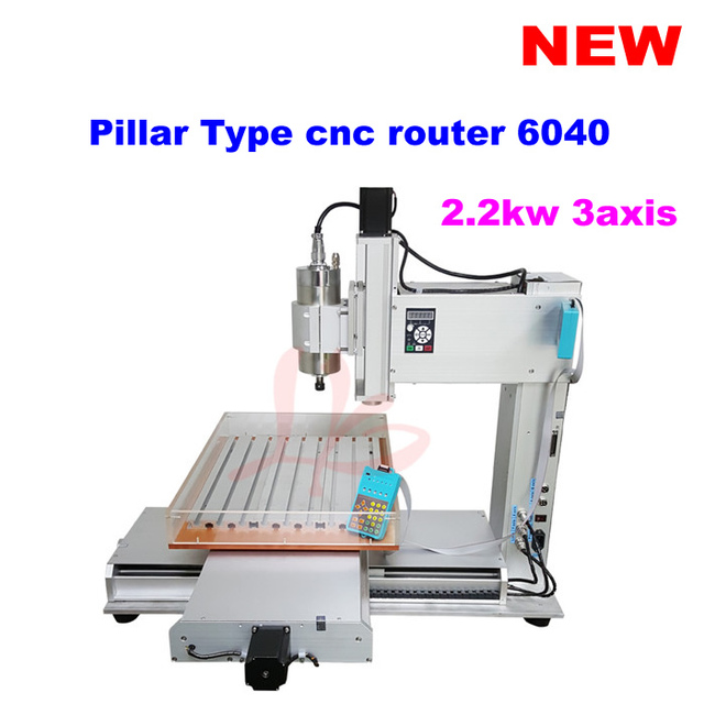 Pillar Type 2200w Spindle 3 Axis Cnc Router 6040 With Water Sink For Metal Stone Cutting