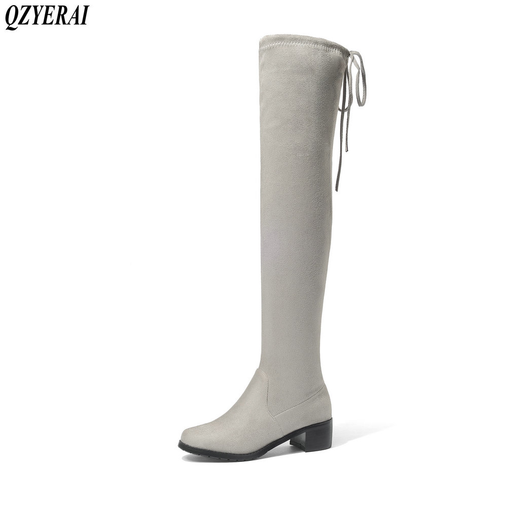QZYERAI New style round head heel comfortable female boots tight stretch over knee women shoes European station boots size 34-43