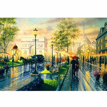 Sell Well DIY Diamond Embroidery Cross Stitch Landscape Picture Rhinestones Mosaic Street Scenery  Painting Full Square