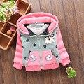 2016 nuevo otoño y el invierno de la moda suéter de las muchachas niños de la capa de dibujos animados conejitos patrón zipper cardigan jacket