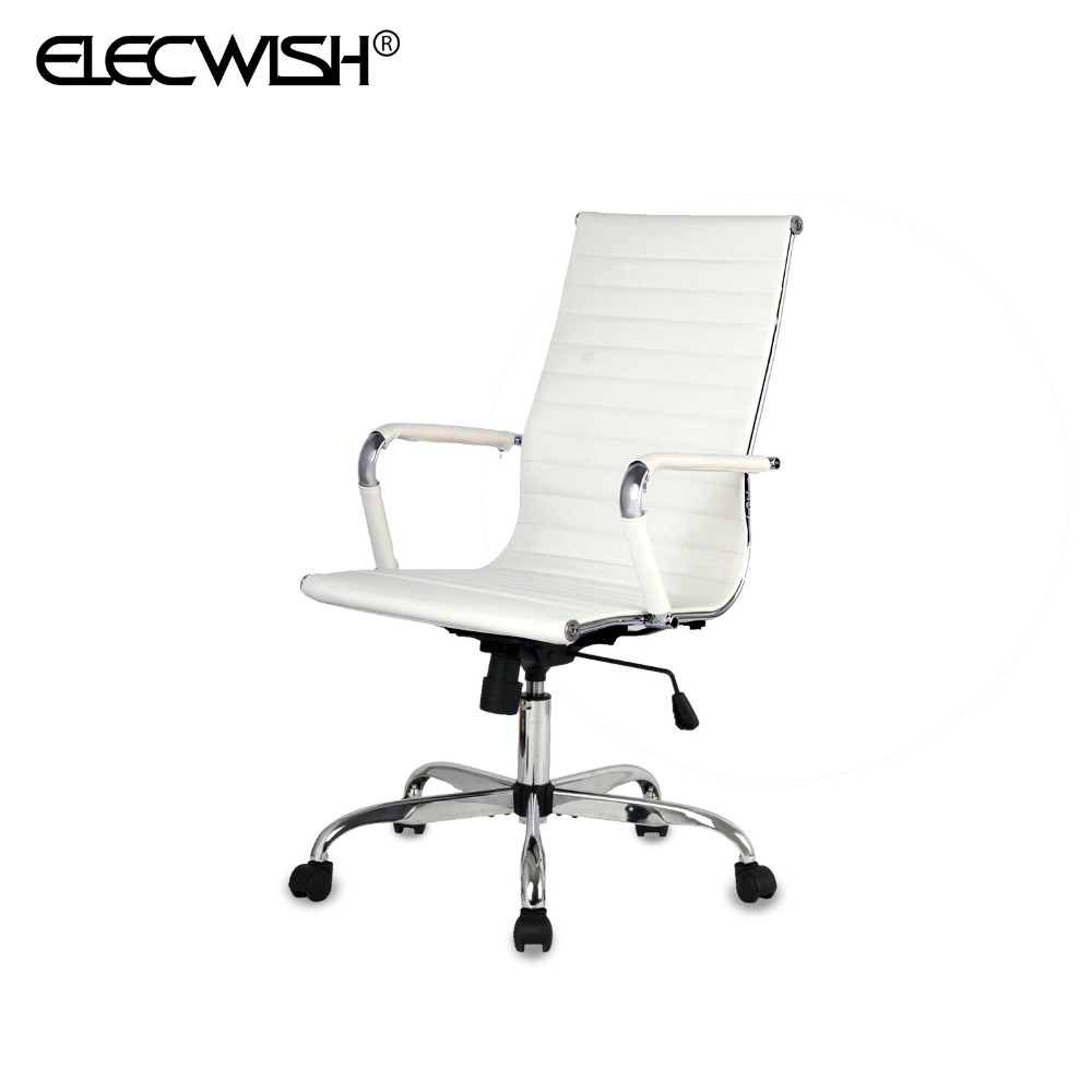 Moderna respaldo alto blanco tapizados de cuero de la pu for Silla escritorio moderna