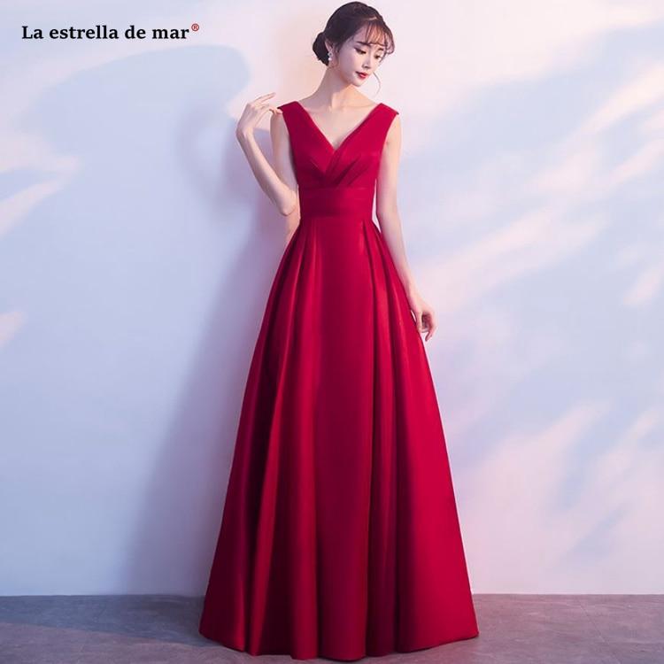 Vestido madrinha2019 new lace chiffon sexy V neck short sleeve A Line burgundy   bridesmaid     dresses   long brautjungfernkleid