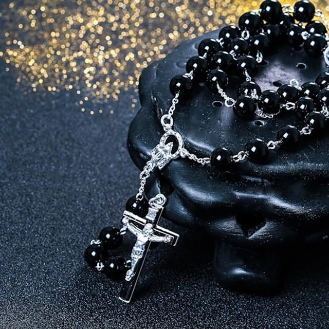 Black stone Wood Beads with black stone cross Pendant Rosary Necklace Men Woman Mala jewelry