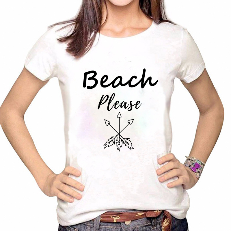 Women Clothes Tshirt Print Beach Please Arrow Shirt Printed Summer Casual Woman Tee Ladies Female T-shirt Short Sleeve T Top