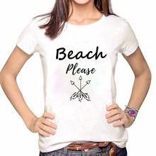 Women Clothes Tshirt Print Beach Please Arrow Shirt Printed