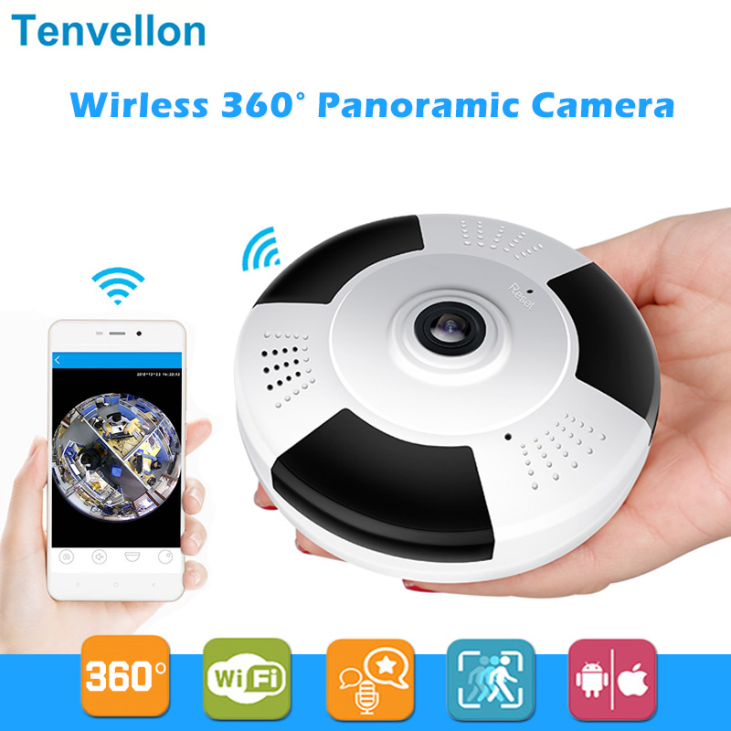 HD 960P 3D VR Wi-Fi Ip Camera 360 degree FishEye 1.3MP Panoramic Security Mini CCTV Camera Wireless Smart Camera TF Card Slot IR insta360 air 3k hd 360 camera dual lens panoramic camera compact mini vr camera for samsung oppo huawei lg andriod smartphone