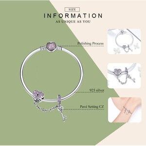 Image 2 - BAMOER pulsera de plata de primera ley con forma de corazón para mujer, brazalete, plata esterlina 925, Circonia cúbica, zirconia, circonita, zirconita, color morado, regalo para San Valentín, SCB820