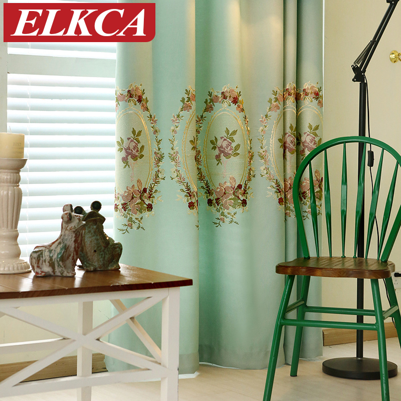 Green Blue Thick Embroidered Velvet Curtains For Living