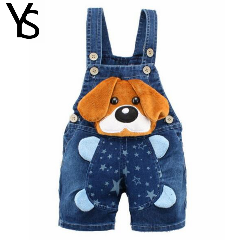 6M-2T Baby Boys Girls Jeans Overalls Shorts Toddler Kids Denim Rompers Cute Cartoon Bebe Jumpsuit For Summer Bib Pants Clothes