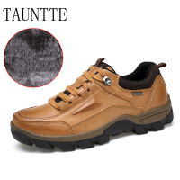 Tauntte Winter Keep Warm Casual Shoes Men Genuine Leather Shoes With Fur Plus Size