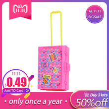 LeadingStar Play House Pink Plastic 3D Travel Train Suitcase Luggage For Barbie Doll Toy For Children gifts(China)