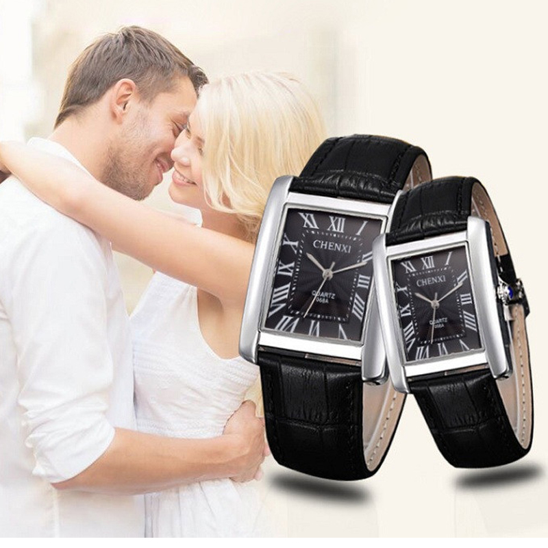Fashion CHENXI Brand Couple Woman Quartz Watch Men Business Wristwatch Female Elegant Fashion Square Leather Dress Wristwatches