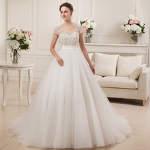 Beading Crystals Ball Gown Wedding Dress with Short Sleeves Low Back Short Tail Modest Bridal Gown Real Photo Custom Size