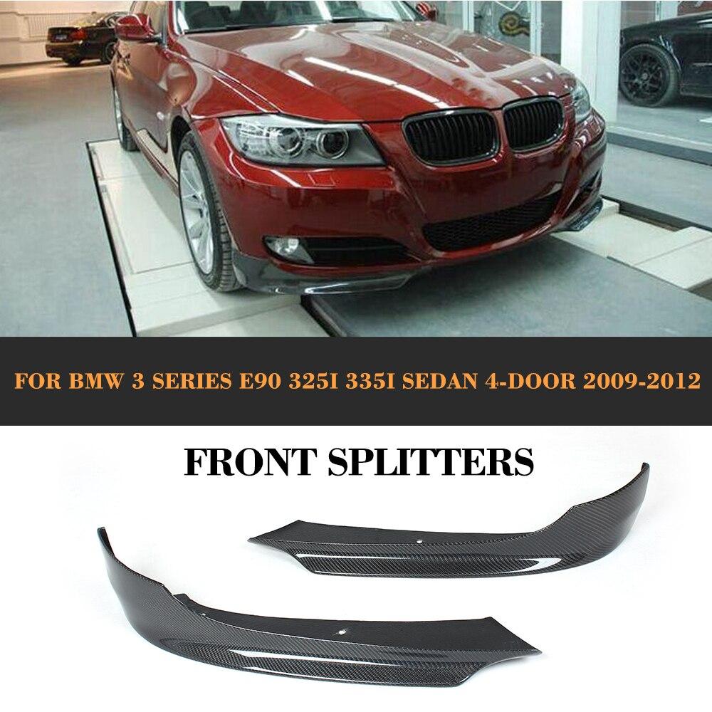 Carbon Fiber Car Front Lip Splitter Winglets flaps apron For BMW E90 LCI Sedan 4 Door 2009 2010 2011 2012 325i 335i cyan soil bay for bmw e90 lci sedan