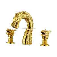 Luxury Deck Mounted Gold and Bronze Brass Material of Dual Handle Artistic Dragon Mixer