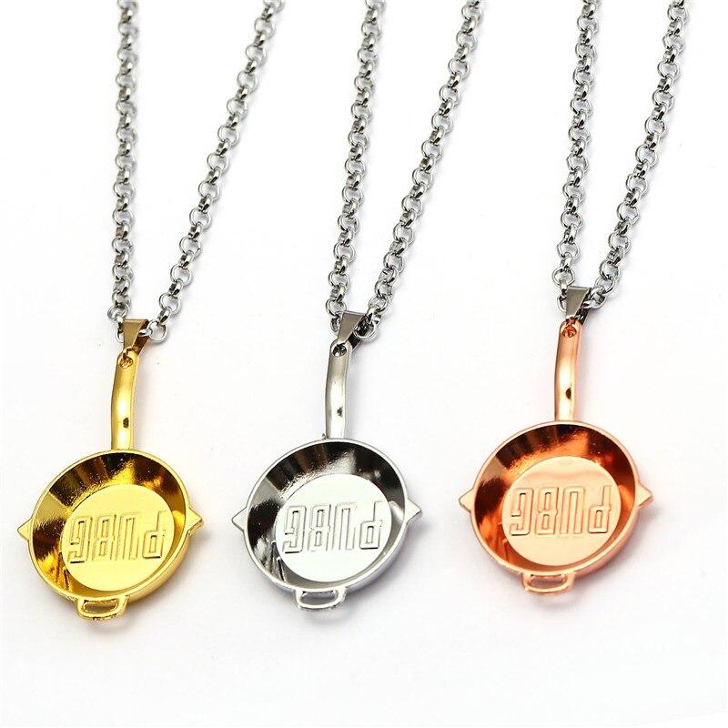 New Playerunknowns Battlegrounds Necklace PUBG Metal Small Pan Pendant Men Birthday Gift Souvenir Jewelry Choker Colar Kolye