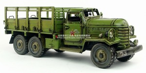 Image 1 - Antique classical military truck model retro vintage wrought  metal tinplate car handmade Creative home furnishings
