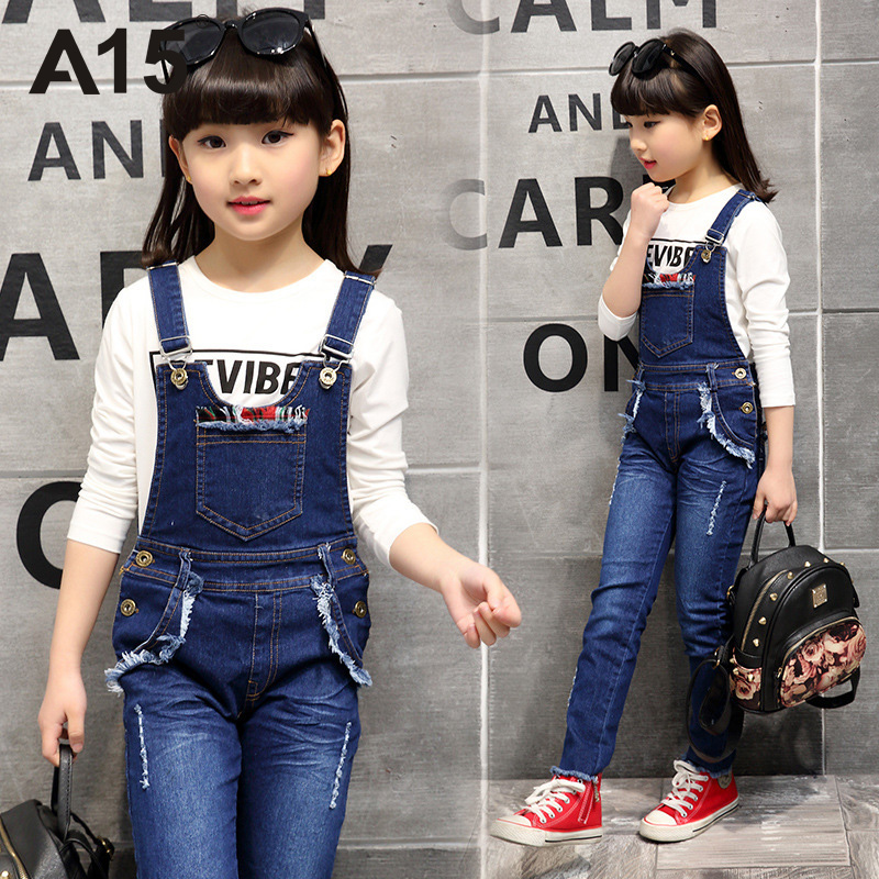 A15 Brand New Autumn Teenage Girls Denim Pants Girl Denim Pants Kids Overalls Jeans Girls Denim