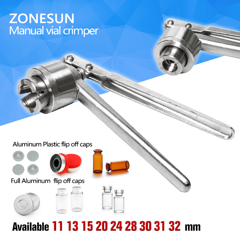 ZONESUN  Vial Crimper, 32mm Glass Bottle Sealing Machine, Manual Stainless Steel Vial Crimpers, Hand Sealing Tool hozan 150ml glass stainless steel alcohol bottle