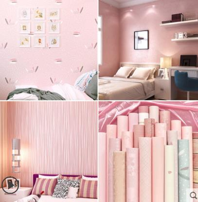 US $19.8  High end bedroom warm waterproof wallpaper bedroom dormitory  college girl pink wallpaper 3D stereo home background wall-in Wallpapers  from ...
