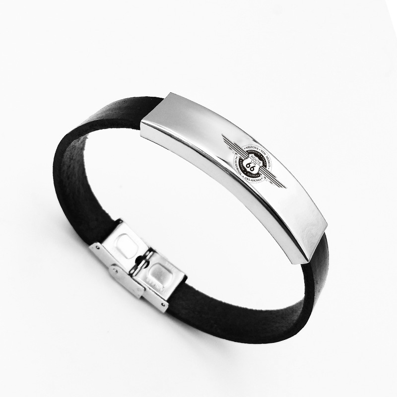 Luxshine Punk Black PU Route 66 Texas Highway Road Men Bracelet Women Silver Color Leather Stainless Steel Jewelry Wholesale
