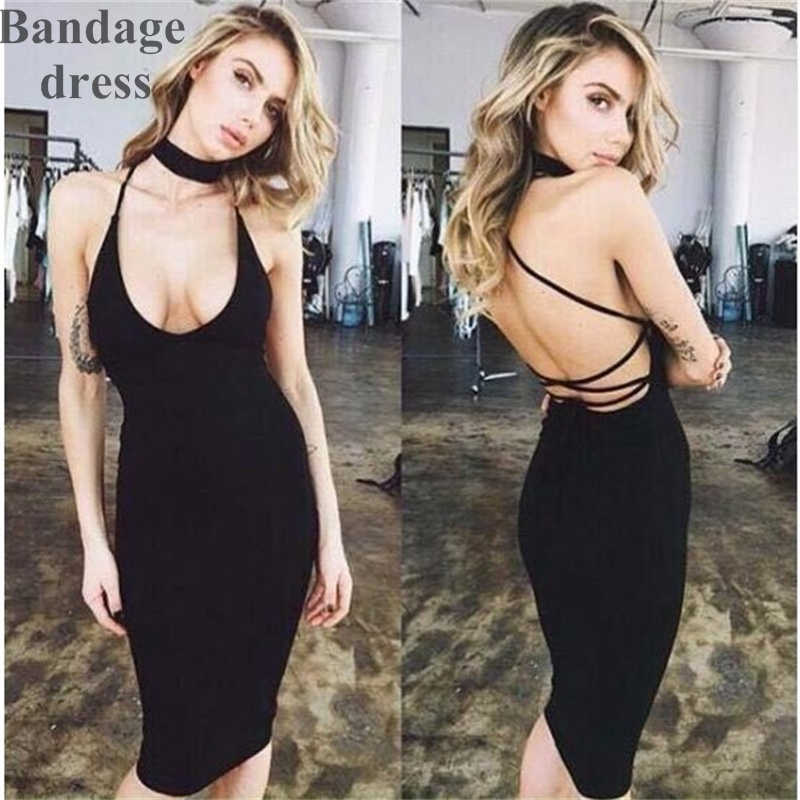 2017 New Style high quality halter beckless sexy and elegant celebrity bandage dress wholesale