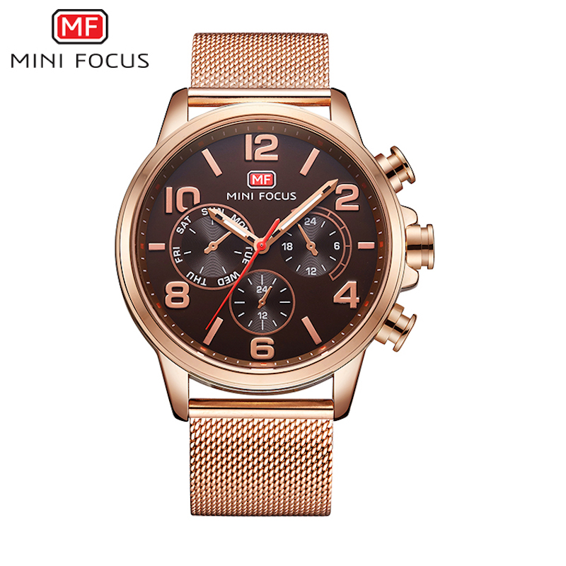 ФОТО Hot Sport Men Watch Top Brand Luxury Male Rose Gold Mesh Leather Waterproof Chronograph Quartz Military Wrist Watch Men Clock
