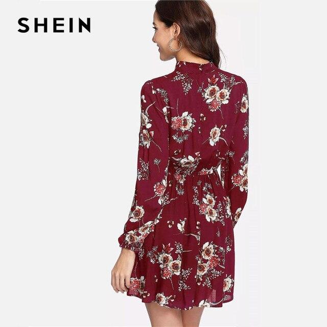 SHEIN Autumn Floral Women Dresses Multicolor Elegant Long Sleeve High Waist A Line Chic Dress Ladies Tie Neck Dress 5