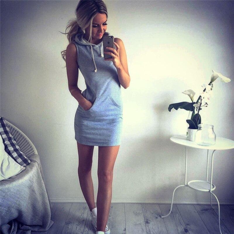 ALI shop ...  ... 32992903280 ... 4 ... Oufisun Summer Casual Sweatshirt Sleeveless 2019 Women Clothing Hooded Drawstring Collar Pocket Simple Party Mini Tank Dress ...