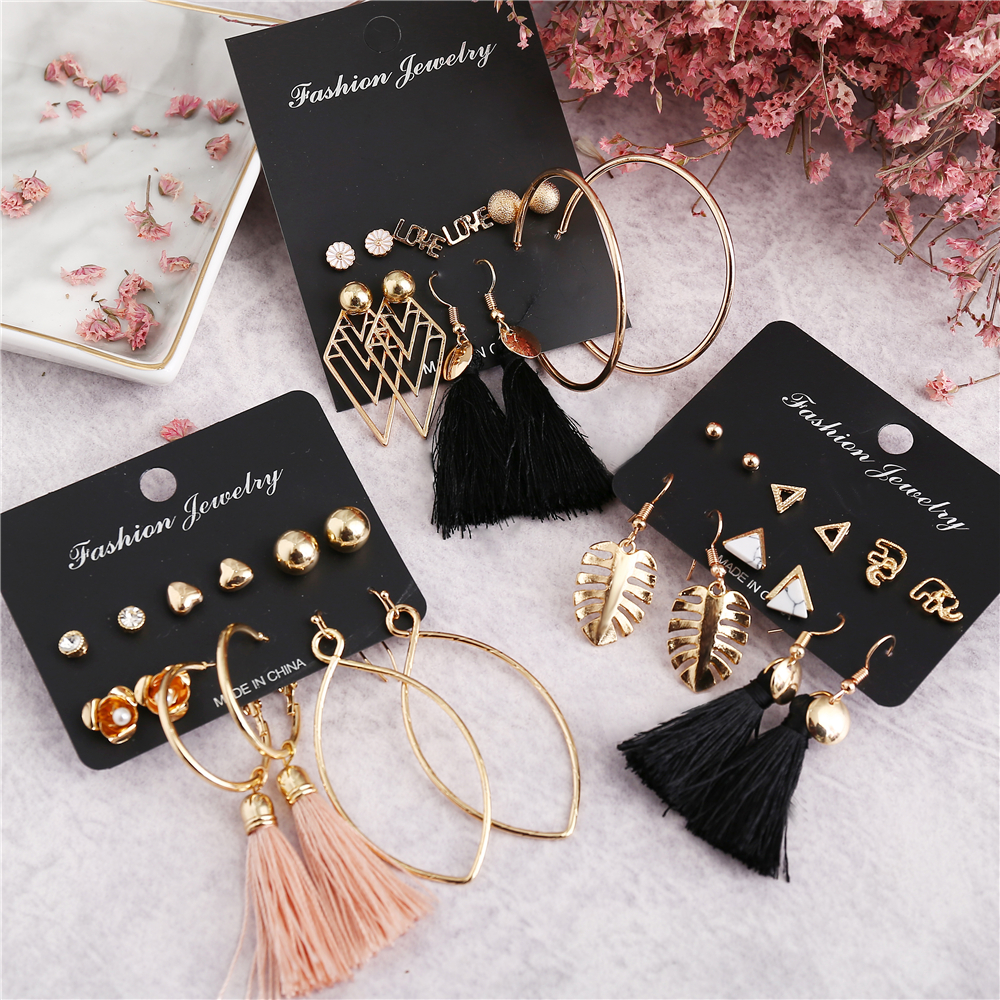 IF ME Vintage Geometric Tassel Dangle Earrings For Women Gold Color Leaf Heart Flower Statement Drop