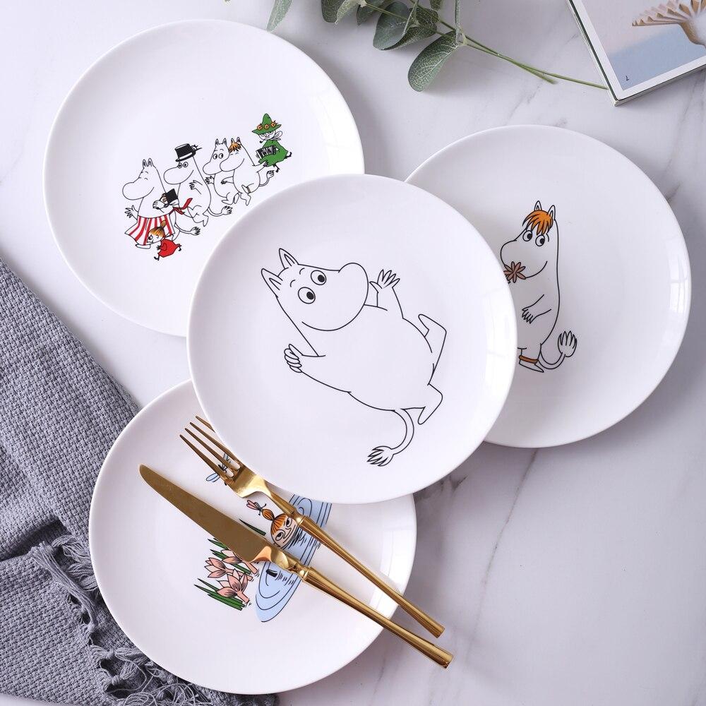 Dinnerware 8inch Ceramic Dessert Plate White Cartoon Steak Pasta Dish Dinner Plates and Dishes 1Pc serveware