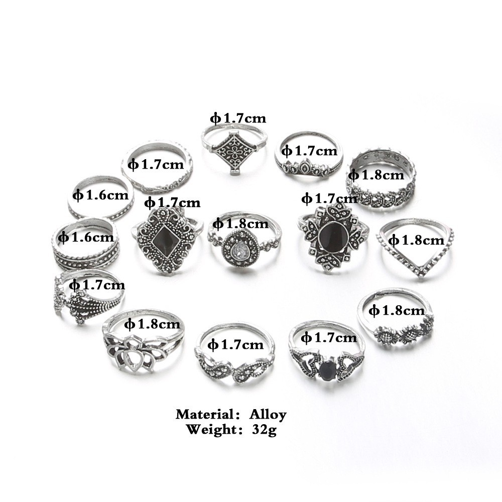 Bague Femme Vintage Rings for Women Boho Geometric Flower Crystal Knuckle Ring Set Bohemian Midi Finger Jewelry Silver Color 20