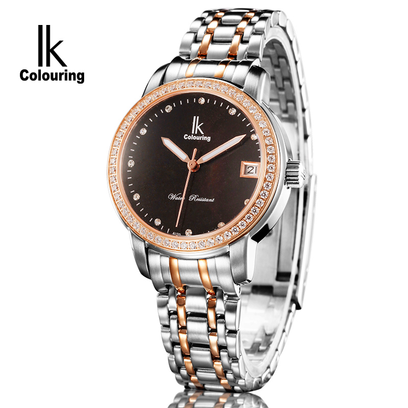 Luxury IK Coloring Luxury Women Sapphire Day Crystal Auto Mechanical Waterproof Wristwatch with Oringal Box Free Ship ik coloring famous mens watches brand luxury hardlex day week month auto mechanical waterproof wristwatch oringal box free ship