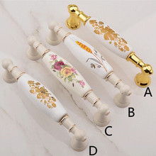 96mm 128mm 160mm fashion rural ceramic furniture handle golden kitchen cabinet drawer handle knob ivory white dresser door pulls