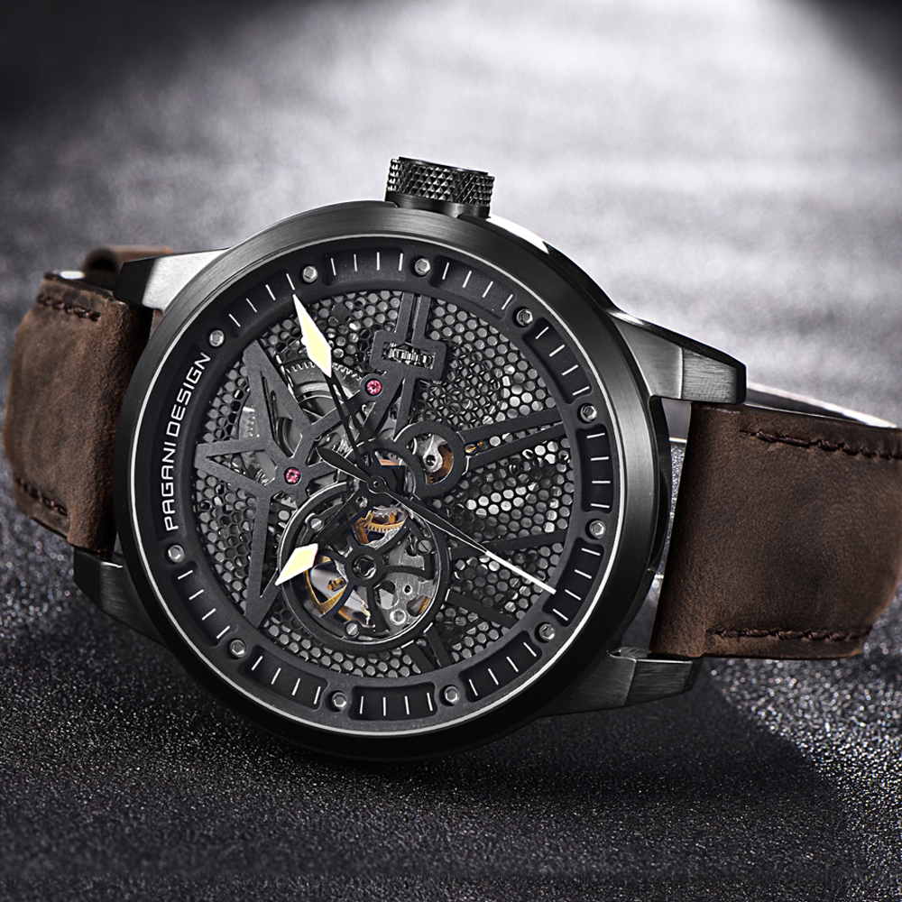 Luxury Brand PAGANI DESIGN Leather Tourbillon Watch Men Automatic Wristwatch Fashion Men Mechanical Watches Relogio Masculino zuejannes 3008g fashion men wristwatch