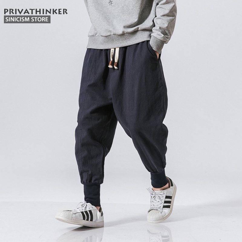 Sinicism Store Japanese Casual Cotton Linen Trouser Male Harem Pant Men Ankle Banded Jogger Pant Chinese Traditional Clothe(China)