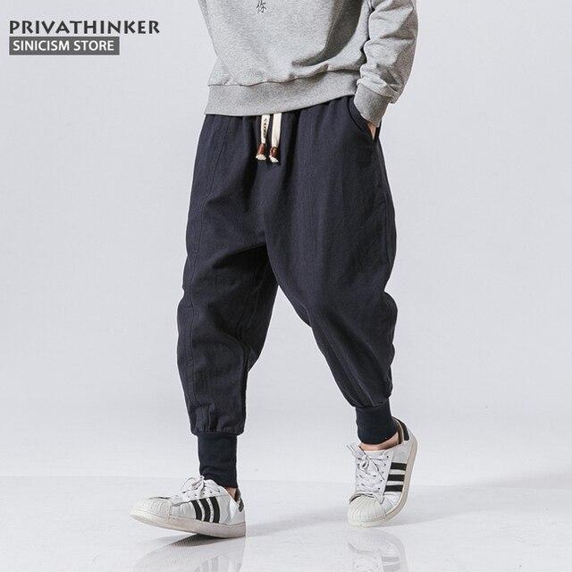 Sincism Store Men Harem Pants Japanese Casual Cotton Linen Trouser Man Jogger Pants Chinese Baggy Pants 1