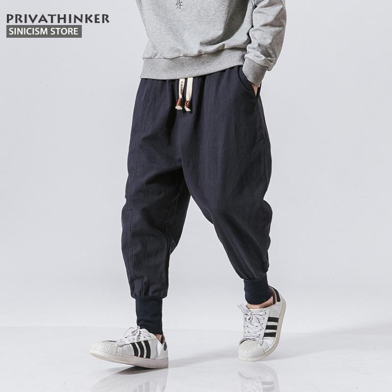 Pantalones Harem japoneses informales de algodón y lino para hombre de la tienda Sincism, pantalones para correr, pantalones holgados chinos