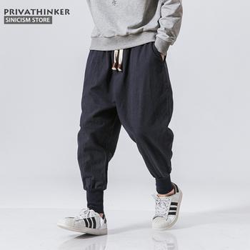 Sincism Store spodnie haremki męskie japońskie spodnie z lnu i bawełny w stylu casual spodnie męskie spodnie do biegania chińskie workowate spodnie tanie i dobre opinie PRIVATHINKER Harem spodnie COTTON Pościel Midweight Pełnej długości Harem Pants Men Kieszenie Kostki długości spodnie